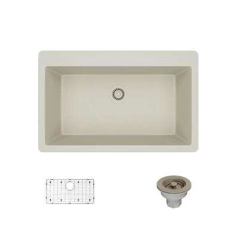 Drop-In Quartz 33 in. Single Basin Kitchen Sink in Concrete