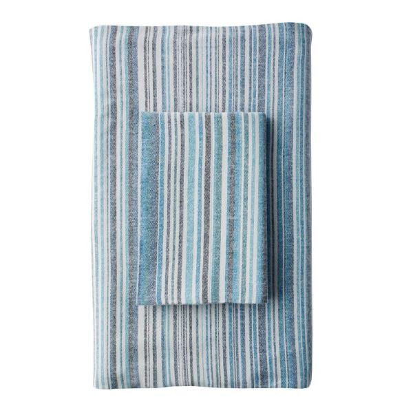 The Company Store Bromley Stripe Blue Cotton Standard Pillowcase (Set of