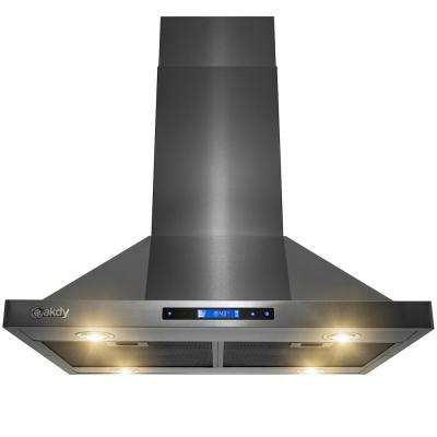 30 in. Convertible Kitchen Island Mount Range Hood in Black Stainless Steel Touch Button Control