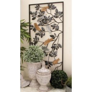 37 inch x 18 inch New Traditional Metal Birds on Vine Wall Decor by