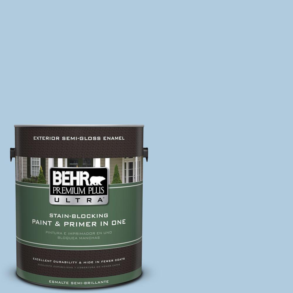 BEHR Premium Plus Ultra 1-gal. #S500-2 Essex Blue Semi-Gloss Enamel Exterior Paint
