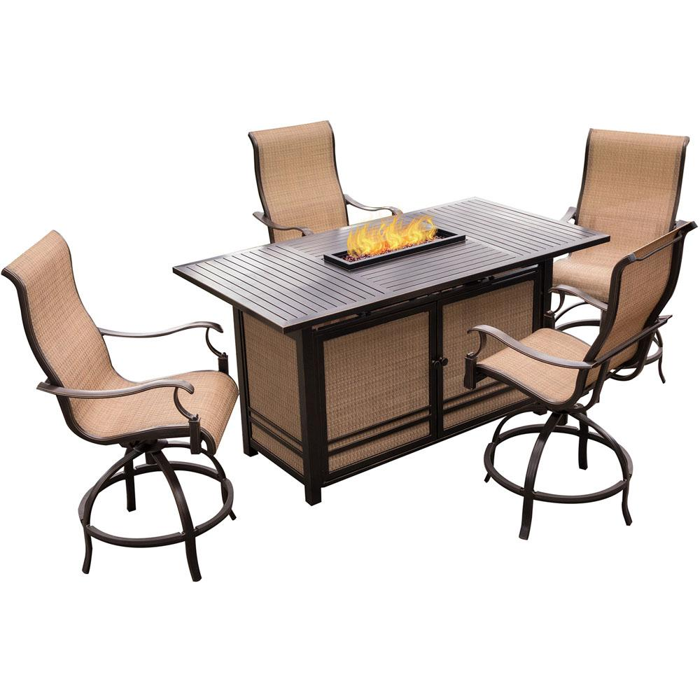 Hanover 5 piece outdoor bar h8 dining set with rectangular for Jardin 8 piece dining set