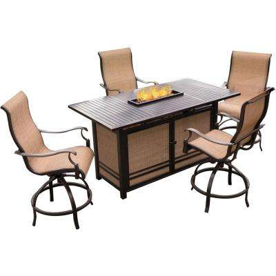 5-Piece Outdoor Bar H8 Dining Set with Rectangular Slatted-Top Firepit Table and Contoured Sling Swivel Chairs