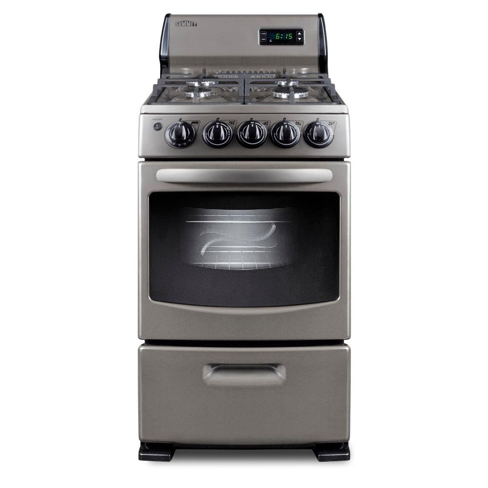 Summit Appliance 20 in. 2.62 cu. ft. Gas Range in Gray