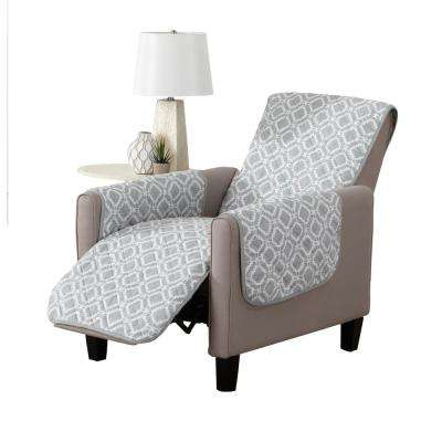 Liliana Collection Strom Grey Printed Reversible Recliner Furniture  Protector