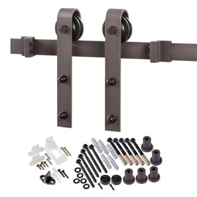 78.75 in. Bronze Bent Strap Barn Door Hardware