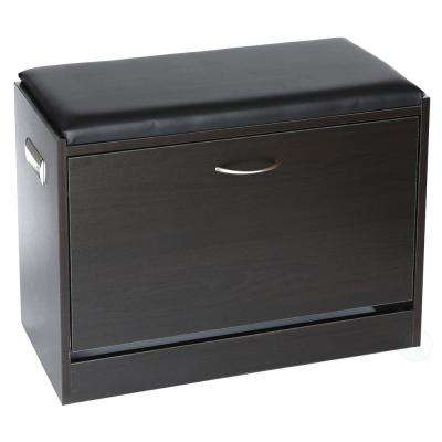 Black Wooden Fold Out Shoe Organizer Shoe Storage Bench with Leather Cushion
