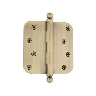4 in. Ball Tip Residential Hinge with 5/8 in. Radius Corners in Antique Brass