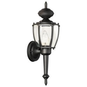 Park Avenue 1-Light Black Outdoor Wall Mount Lantern Sconce