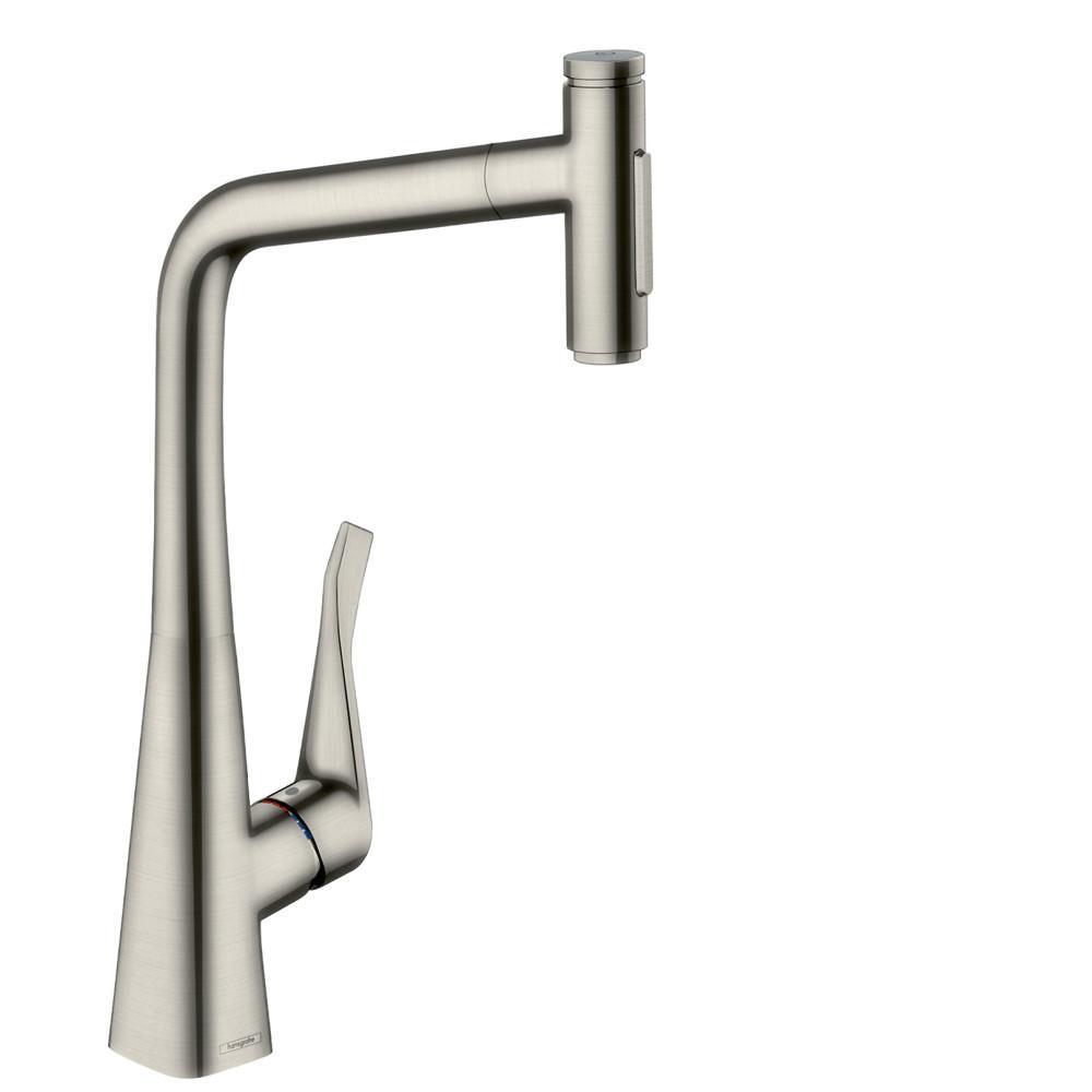 Metris Select Single-Handle Pull-Down Sprayer Kitchen Faucet in Steel Optic