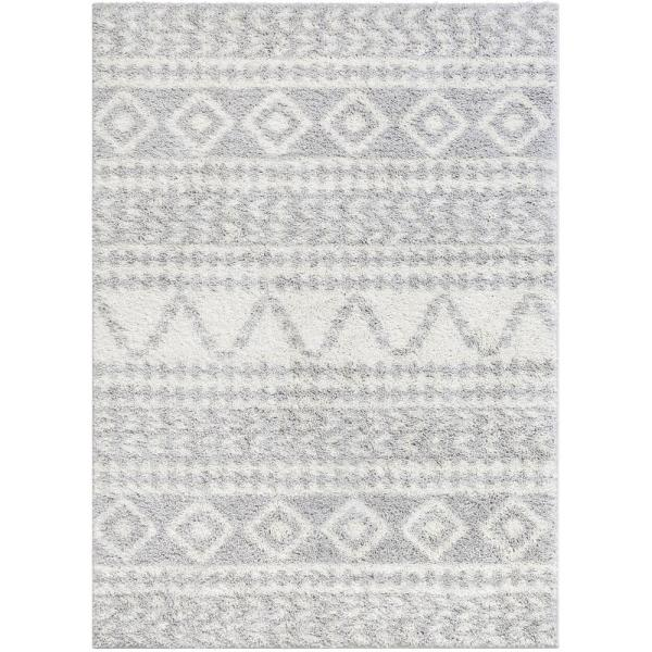 Madison Shag Cossima Moroccan Geometric Grey 5 ft. 3 in. x 7 ft. 3 in. Area Rug