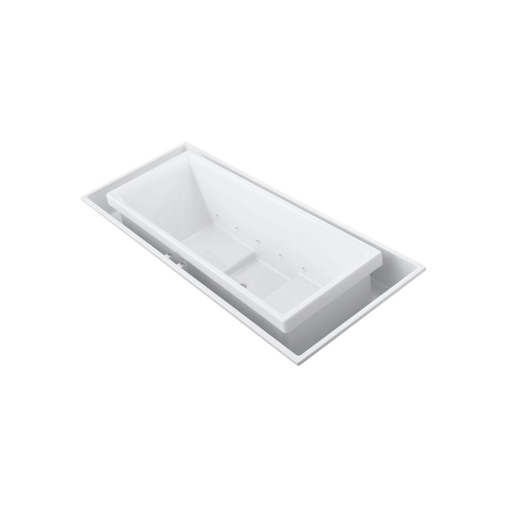 KOHLER Sok 8.6 ft. Acrylic Rectangular Drop-in or Undermount Effervescence Bathtub in White