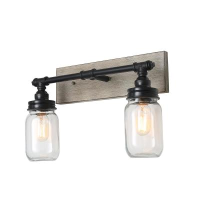 2-Light Black Faux Wood Mason Jar Lighting Vanity Bath Light