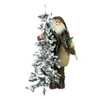 48 in. Christmas Standing Woodland Santa Claus Figure with Axe and Flocked Alpine Tree
