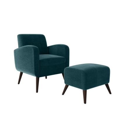 Metro Peacock Blue Plush Low-Pile Velvet Arm Chair and Ottoman Set