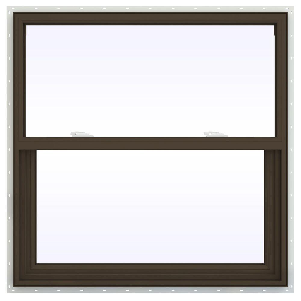 JELD-WEN 35.5 in. x 35.5 in. V-2500 Series Single Hung Vinyl Window - Brown