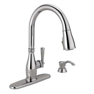 Charmaine Single-Handle Pull-Down Sprayer Kitchen Faucet with Soap Dispenser and ShieldSpray Technology in Chrome