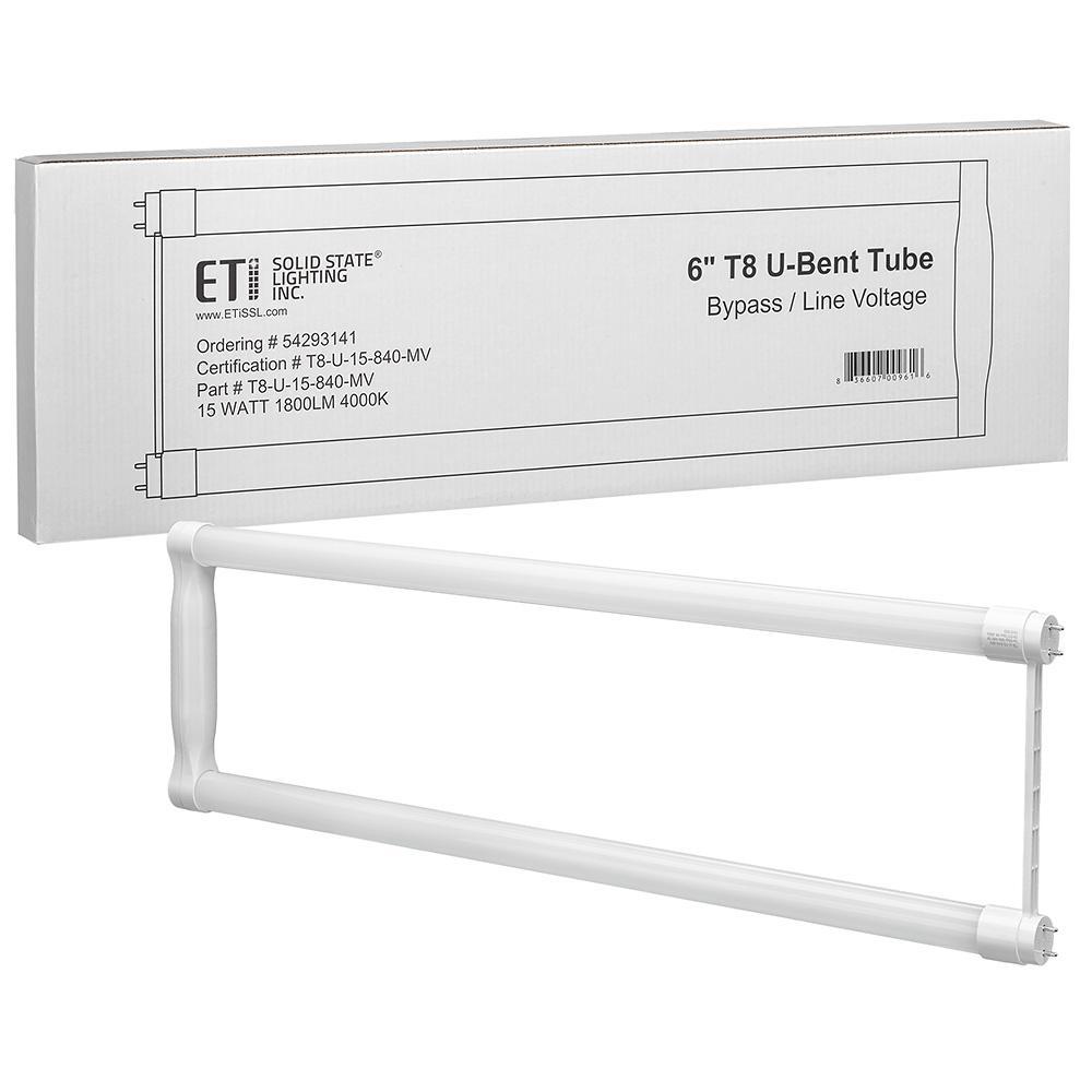 6 in. 15-Watt G13 Bi-Pin U-Bent LED Tube Light Bulb Integral Driver 4000K Bright White 1800 Lumens 120-277V (1-Bulb)