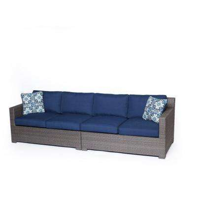 Metropolitan Grey 2-Piece Aluminum All-Weather Wicker Patio Seating Set with Navy Blue Cushions