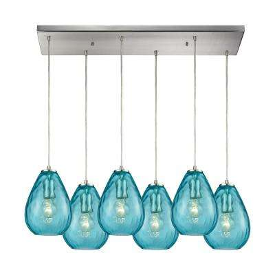 Cluster teal pendant lights lighting the home depot lagoon 6 light rectangle in satin nickel with aqua water glass pendant aloadofball Choice Image