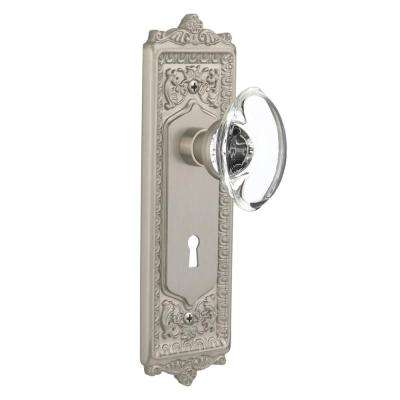 Egg and Dart Plate with Keyhole 2-3/4 in. Backset Satin Nickel Privacy Oval Clear Crystal Glass Door Knob