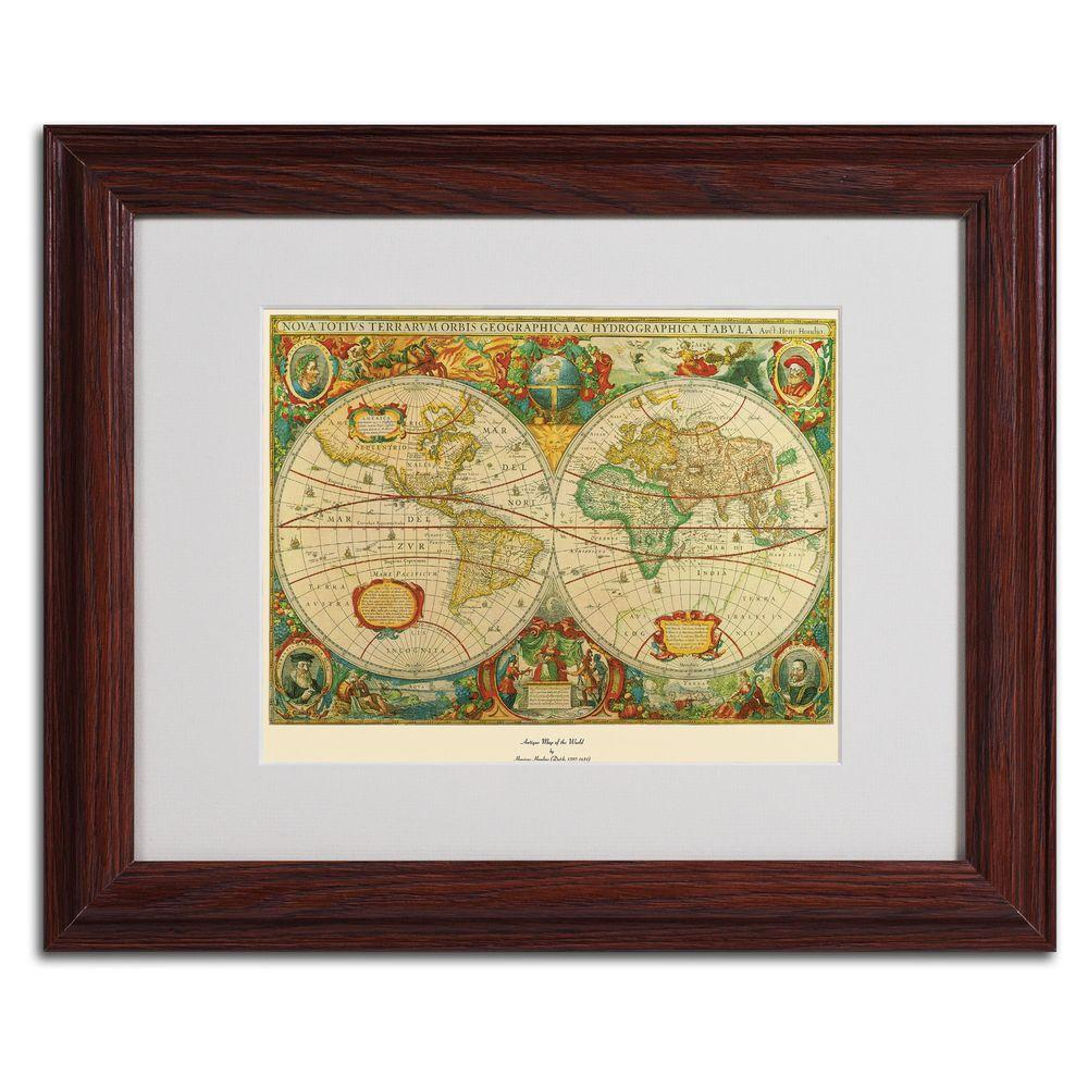 11 in. x 14 in. Old World Map Painting Matted Framed
