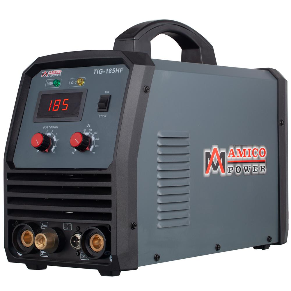 AMICO POWER 180 Amp. TIG Stick Arc DC Inverter Welder with 95-Volt to 260-Volt Wide Voltage Welding, 80% Duty Cycle