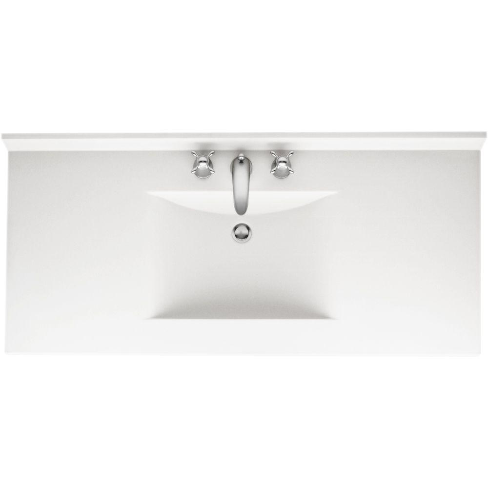 Swan Contour 43 in. W x 22 in. D Solid Surface Vanity Top with Sink in White