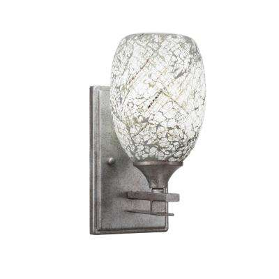 6.25 in. Aged Silver Sconce with 5 in. Natural Fusion Glass