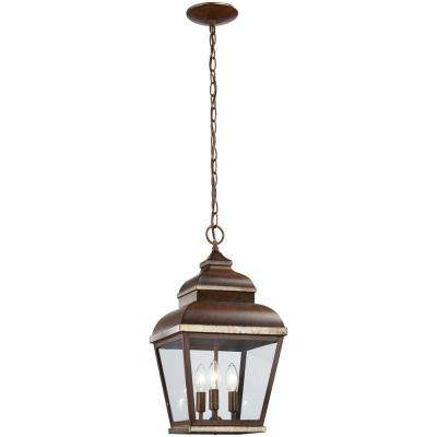 Mossoro Walnut with Silver Highlights 3-Light Outdoor Hanging Lantern