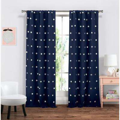 Print Navy Polyester Blackout Pole Top Window Curtain - 38 in. W x 84 in. L (2-Pack)