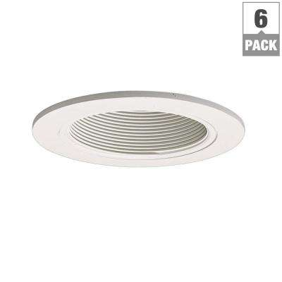 993 Series 4 in. White Recessed Ceiling Light Trim with Baffle (6-Pack)