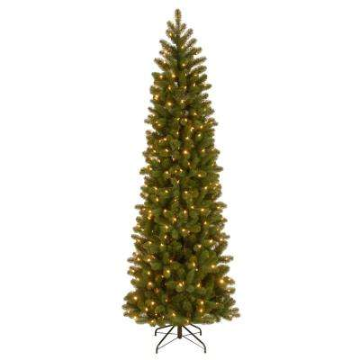 7-1/2 ft. Feel Real Down Swept Douglas Fir Pencil Slim Hinged Artificial Christmas Tree with 350 Clear Lights