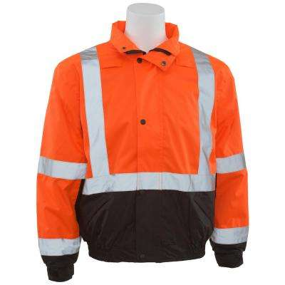 W106 3X Hi Viz Orange/Black Bottom Poly Bomber Jacket with Hood