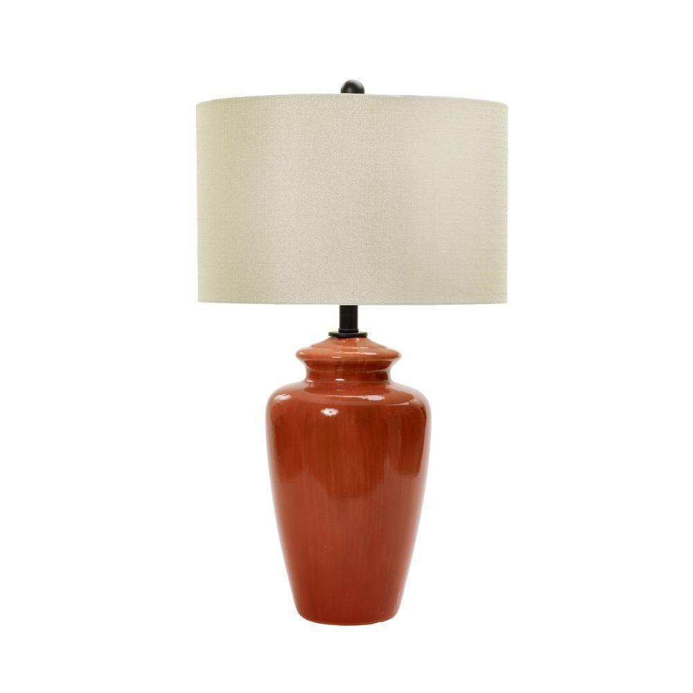 28 in. Rustic Brick Crackle Ceramic Table Lamp