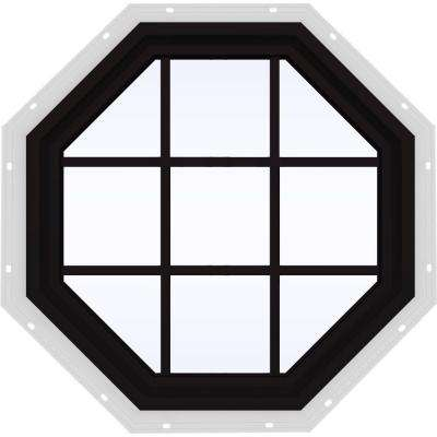 36 in. x 36 in. V-4500 Series Black FiniShield Vinyl Fixed Octagon Geometric Window with Colonial Grids/Grilles