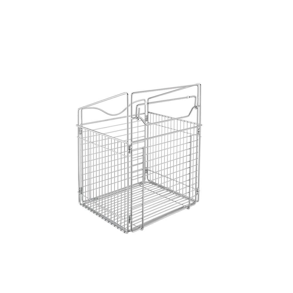 15.5 in. x 19.73 in. Chrome Closet Pull-Out Hamper Basket