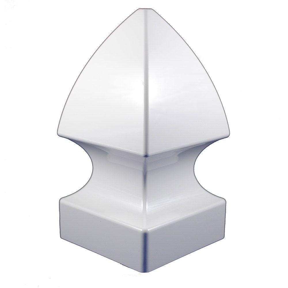 5 in. x 5 in. White Vinyl Gothic Post Cap