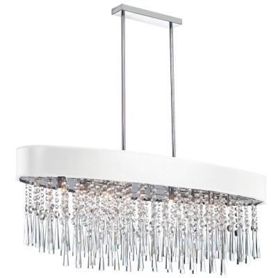 8-Light Polished Chrome Chandelier with White on Silver Shade