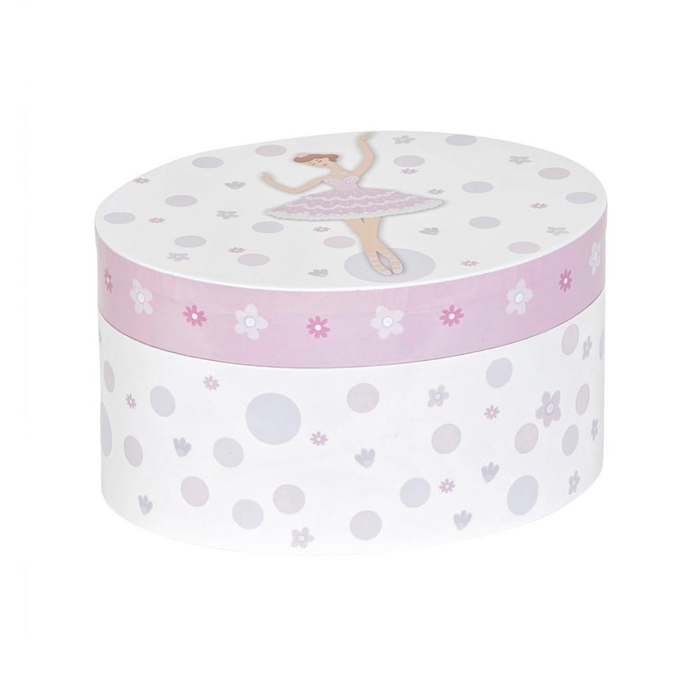Zoe Girl's White Fashion Paper Musical Ballerina Jewelry Box