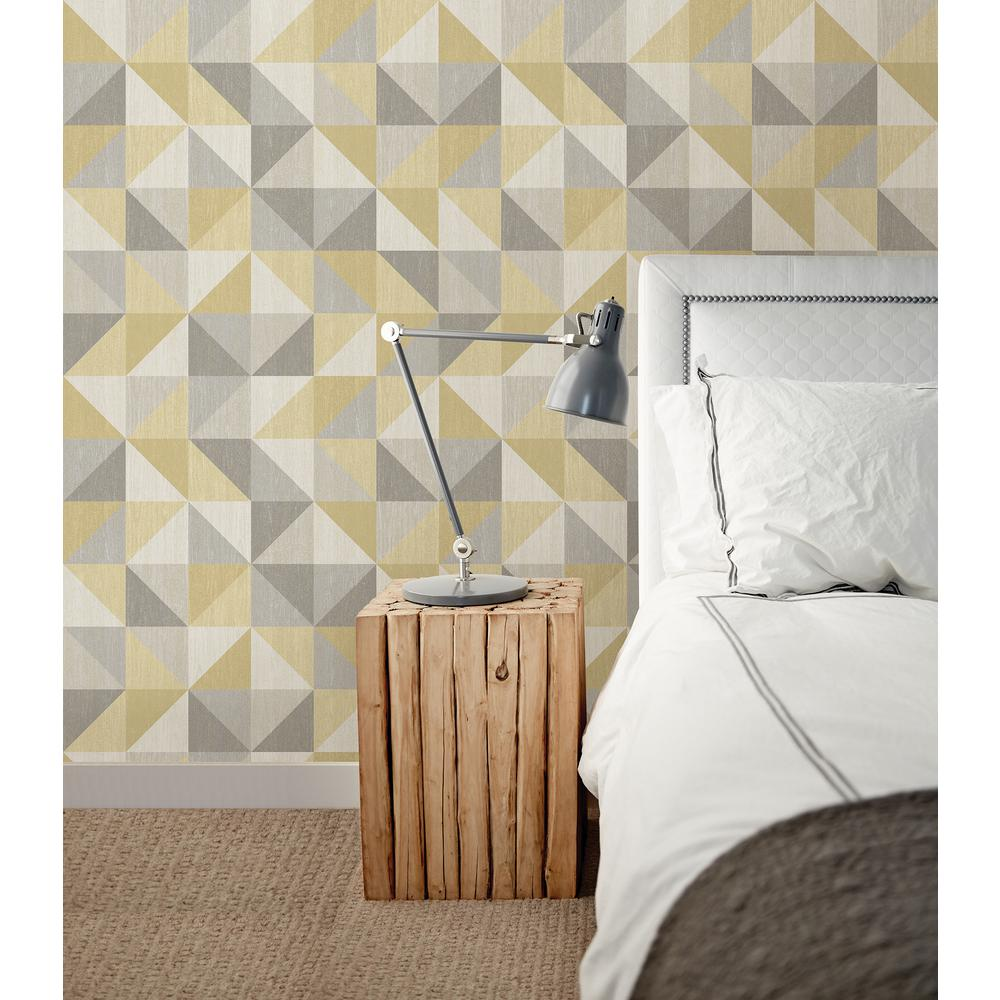 Nuwallpaper jigsaw yellow and grey peel and stick for Yellow wallpaper home depot