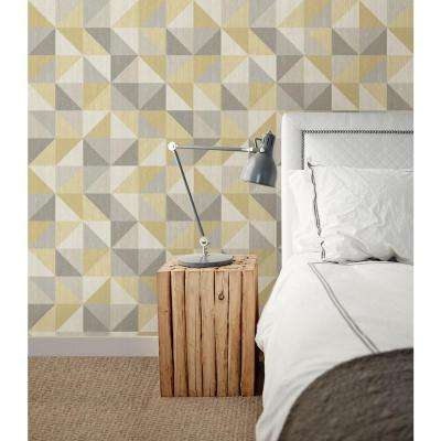 Jigsaw Yellow and Grey Peel and Stick Wallpaper