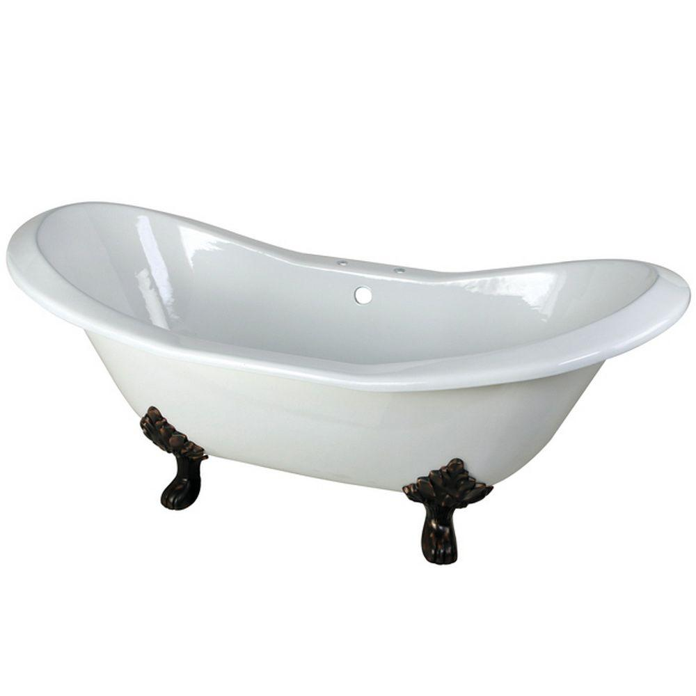 Aqua Eden 72 In Cast Iron Double Slipper Clawfoot Bathtub Oil Rubbed Bronze