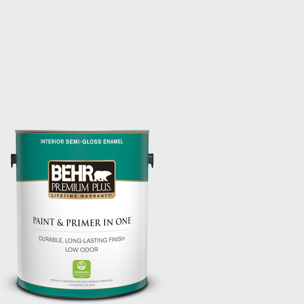 1 gal. #BWC-12 Vibrant White Semi-Gloss Enamel Low Odor Interior Paint