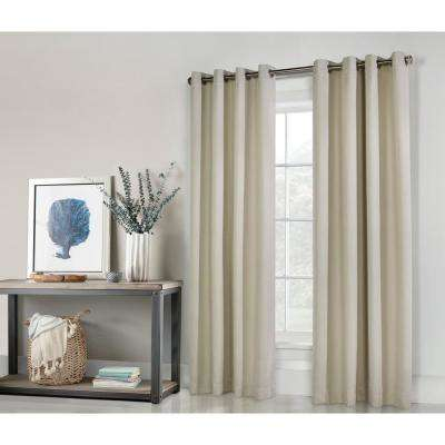 104 in. x 96 in. Belize Ivory Grommet Woven Blackout Panel in Silver Clear