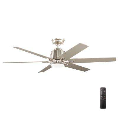 Ceiling fans with lights ceiling fans the home depot kensgrove 54 in integrated led indoor brushed nickel ceiling fan aloadofball Image collections