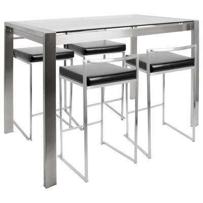 Fuji 5-Piece Stainless Steel and Black Counter Set