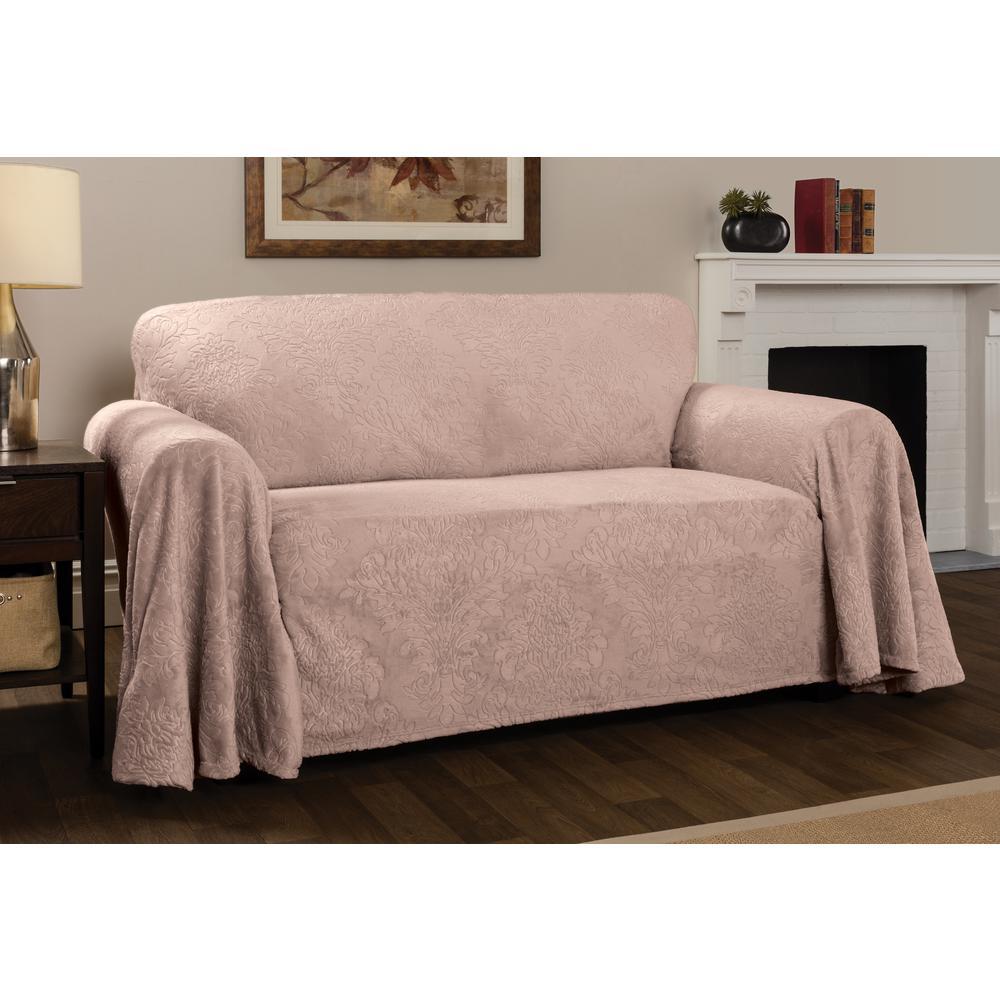 Miraculous Innovative Textile Solutions Plush Damask Slipcover Blush Dailytribune Chair Design For Home Dailytribuneorg
