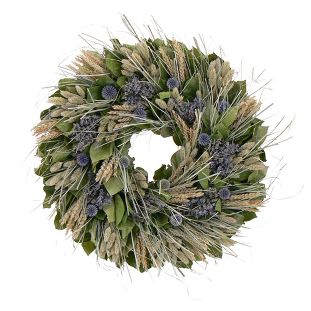 The Christmas Tree Company Lavender Fields 18 in. Dried Floral Wreath-DISCONTINUED