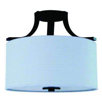 Panorama Trail 2-Light Ebony Bronze Semi-Flush Mount Light with Dove White Fabric Shade